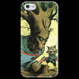 """Чехол для iPhone 5 глянцевый, с полной запечаткой """"Comics Art Series: Стражи Галактики """" - енот, марвел, superhero, стражи галактики, грут"""