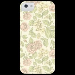 """Чехол для iPhone 5 глянцевый, с полной запечаткой """"Цветы пастельных тонов"""" - арт, цветы, красота, flowers, подарок, леди, retro, нежность, pastel, пастель"""