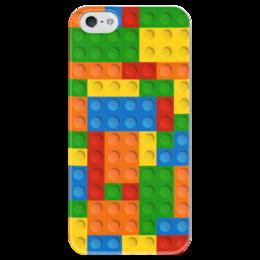 """Чехол для iPhone 5 глянцевый, с полной запечаткой """"Конструктор Лего"""" - рисунок, детский, игрушка, конструктор, лего"""