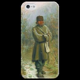 """Чехол для iPhone 5 глянцевый, с полной запечаткой """"Созерцатель (картина Крамского)"""" - картина, крамской"""