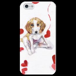 """Чехол для iPhone 5 глянцевый, с полной запечаткой """"St.Valentine Dog"""" - любовь, 14 февраля, щенок, бигль, beagle"""