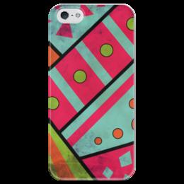 """Чехол для iPhone 5 глянцевый, с полной запечаткой """"Яркая геометрия"""" - полосы, круги, геометрия, треугольники"""