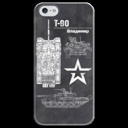 """Чехол для iPhone 5 глянцевый, с полной запечаткой """"Танк Т-90"""" - армия, россия, танк, сухопутные войска, т 90"""