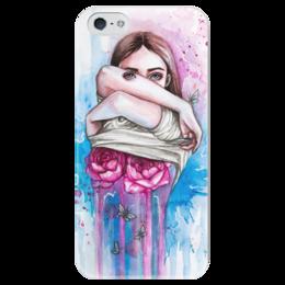 """Чехол для iPhone 5 глянцевый, с полной запечаткой """"Обнажая сущность"""" - гранж, арт, девушка, розы, сюрреализм"""