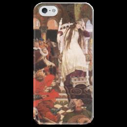 """Чехол для iPhone 5 глянцевый, с полной запечаткой """"Царевна-Несмеяна"""" - картина, васнецов"""