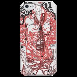 """Чехол для iPhone 5 глянцевый, с полной запечаткой """"Шейный платок"""" - девушка, фигура, красный, галстук, рубашка"""