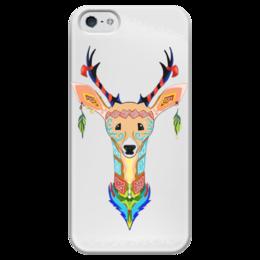 """Чехол для iPhone 5 глянцевый, с полной запечаткой """"Фантастический олень"""" - олень, tribal, deer, трайбл"""