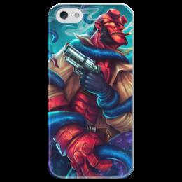 """Чехол для iPhone 5 глянцевый, с полной запечаткой """"Хеллбой"""" - комиксы, демон, hellboy, dark horse comics"""