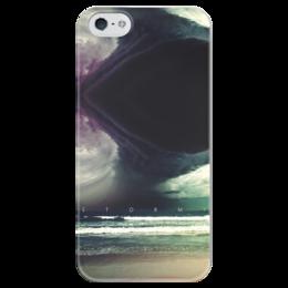 """Чехол для iPhone 5 глянцевый, с полной запечаткой """"Stormy"""" - море, небо, пляж, волны, ураган"""