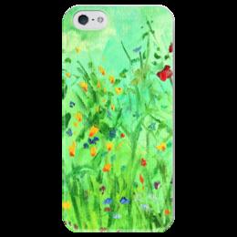 """Чехол для iPhone 5 глянцевый, с полной запечаткой """"Полевые цветы"""" - цветы, полевые цветы, подарок на 8 марта, 8 марта, flowers"""
