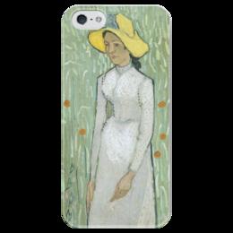 "Чехол для iPhone 5 глянцевый, с полной запечаткой ""Девушка в белом (Girl in White)"" - картина, ван гог"