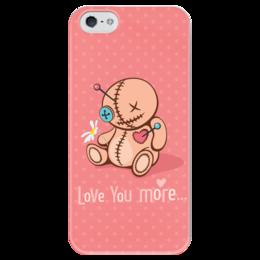 "Чехол для iPhone 5 глянцевый, с полной запечаткой ""Love you more..."" - сердце, любовь, кукла, розовый, вуду"