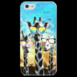"""Чехол для iPhone 5 глянцевый, с полной запечаткой """"Жирафы"""" - лето, юмор, очки, яркий, жираф"""