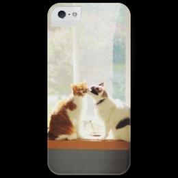 """Чехол для iPhone 5 глянцевый, с полной запечаткой """" Cats"""" - кошки, cute"""