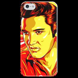 """Чехол для iPhone 5 глянцевый, с полной запечаткой """"Элвис Пресли"""" - поп арт, рисунок, элвис пресли"""