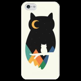 """Чехол для iPhone 5 глянцевый, с полной запечаткой """"Owl Owl"""" - птицы, небо, сова, горы, owl"""