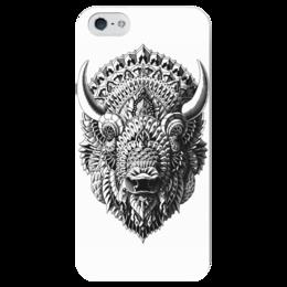"""Чехол для iPhone 5 глянцевый, с полной запечаткой """"Голова Быка"""" - графика, бык, bull, чёрное и белое"""