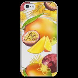 """Чехол для iPhone 5 глянцевый, с полной запечаткой """"Тропические фрукты"""" - фрукты, рисунок, тропики, папайя, маракуйя"""
