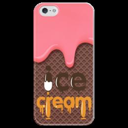 """Чехол для iPhone 5 глянцевый, с полной запечаткой """"Мороженное"""" - арт, еда, ice cream, мороженное, вафли"""