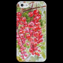 """Чехол для iPhone 5 глянцевый, с полной запечаткой """"Красная смородина """" - рисунок, смородина, красная смородина"""