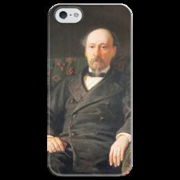 """Чехол для iPhone 5 глянцевый, с полной запечаткой """"Портрет Н. А. Некрасова"""" - картина, ге"""