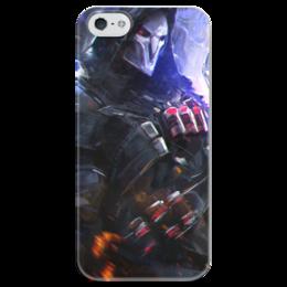 """Чехол для iPhone 5 глянцевый, с полной запечаткой """"Жнец """" - blizzard, близзард, overwatch, reaper, овервотч"""