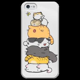 """Чехол для iPhone 5 глянцевый, с полной запечаткой """"Котобашня"""" - коты, аниме, кавай, котики, кисы"""