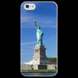 """Чехол для iPhone 5 глянцевый, с полной запечаткой """"Статуя Свободы"""" - нью-йорк, америка, статуя свободы"""