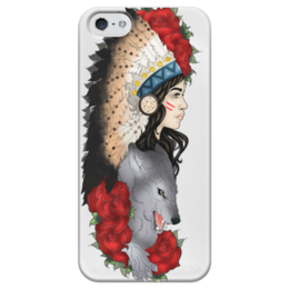 """Чехол для iPhone 5 глянцевый, с полной запечаткой """"Indian"""" - волк, wolf, вождь, индианка"""