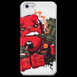 """Чехол для iPhone 5 глянцевый, с полной запечаткой """"hellboy"""" - comics, комикс, superhero, hellboy, хеллбой, dark horse comics"""