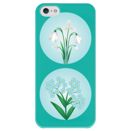 """Чехол для iPhone 5 глянцевый, с полной запечаткой """"Весенние цветы"""" - цветы, flower, подснежник, незабудка, весна"""