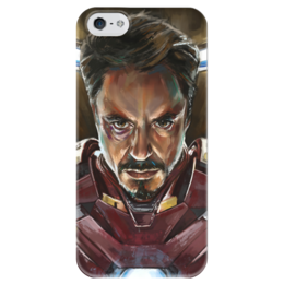 """Чехол для iPhone 5 глянцевый, с полной запечаткой """"Железный человек"""" - комиксы, marvel, мстители, железный человек, противостояние"""