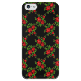 """Чехол для iPhone 5 глянцевый, с полной запечаткой """"Розы на чёрном"""" - цветы, рисунок, розы, чёрный фон"""