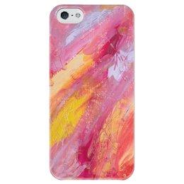 """Чехол для iPhone 5 глянцевый, с полной запечаткой """"Цветы добра"""" - арт, желтый, розовый, абстракция, живопись"""