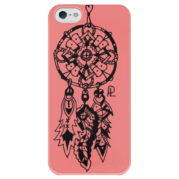 """Чехол для iPhone 5 глянцевый, с полной запечаткой """"Ловец снов для романтичных девушек"""" - романтика, pink, символы, символ, ловец снов, dreamcatcher"""