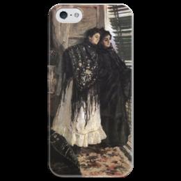 """Чехол для iPhone 5 глянцевый, с полной запечаткой """"У балкона. Испанки Леонора и Ампара"""" - картина, коровин"""