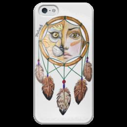"""Чехол для iPhone 5 глянцевый, с полной запечаткой """"Ловец снов"""" - арт, art, глаза, природа, карандаши, зверь, животное, племя, перо, nature"""