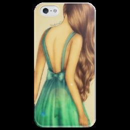 """Чехол для iPhone 5 глянцевый, с полной запечаткой """"Бирюзовая печаль"""" - арт, девушка, бирюза"""