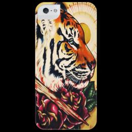 """Чехол для iPhone 5 глянцевый, с полной запечаткой """"Тигр и розы"""" - тигр, tiger, roses, tattoo"""