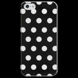 """Чехол для iPhone 5 глянцевый, с полной запечаткой """"Белый горох на Чёрном фоне"""" - стиль, белый, минимализм, горох, чёрный фон"""