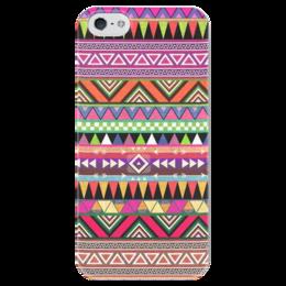"""Чехол для iPhone 5 глянцевый, с полной запечаткой """"орнамент"""" - хипстер, tribal, indie, hipster, этнический, aztec"""