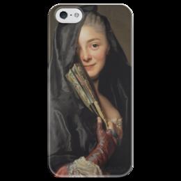 """Чехол для iPhone 5 глянцевый, с полной запечаткой """"Дама под вуалью (картина Рослина)"""" - картина, рослин"""