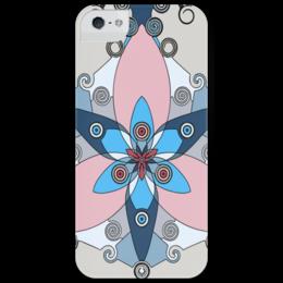 """Чехол для iPhone 5 глянцевый, с полной запечаткой """"Antique flower"""" - рисунок, арт, геометрия, цветок, розовый"""