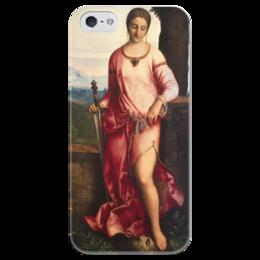 """Чехол для iPhone 5 глянцевый, с полной запечаткой """"Джудит с головой Олоферна (Джорджоне)"""" - картина, джорджоне"""