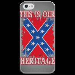 """Чехол для iPhone 5 глянцевый, с полной запечаткой """"Флаг Конфедерации США"""" - война, америка, флаг, сша, флаг конфедерации"""