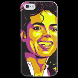 """Чехол для iPhone 5 глянцевый, с полной запечаткой """"Майкл Джексон"""" - поп арт, рисунок, майкл джексон"""