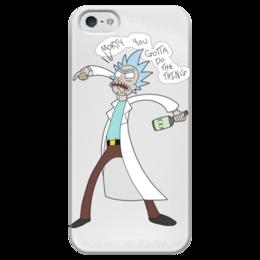 """Чехол для iPhone 5 глянцевый, с полной запечаткой """"Rick & Morty"""" - rick, рик и морти, morty"""