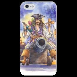 """Чехол для iPhone 5 глянцевый, с полной запечаткой """"Поедем, красотка, кататься."""" - праздник, любовь, арт, джек воробей, пираты карибского моря"""