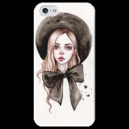 """Чехол для iPhone 5 глянцевый, с полной запечаткой """"Модница"""" - девушка, мода, акварель, фэшн, шляпка"""