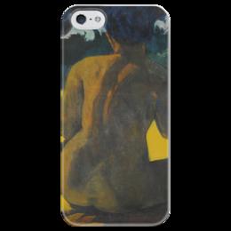 "Чехол для iPhone 5 глянцевый, с полной запечаткой ""Woman on the beach (картина Поля Гогена)"" - эротика, картина"